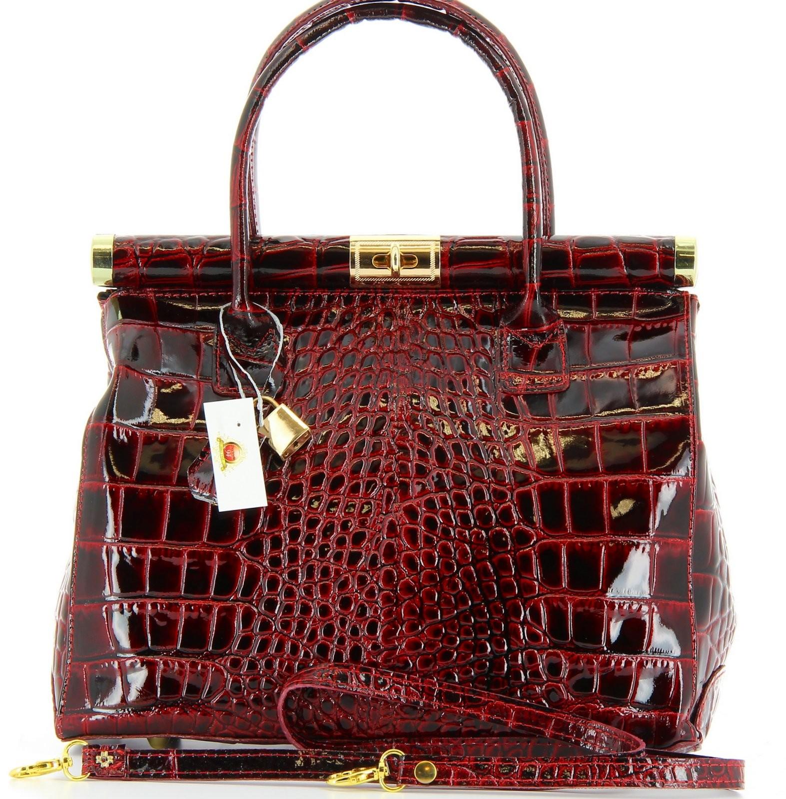 sac main femme cuir vernis port main ou paule luxe bordeaux mi. Black Bedroom Furniture Sets. Home Design Ideas
