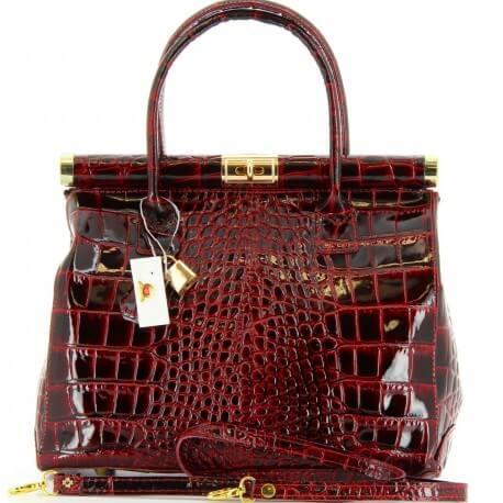 Sac à main femme cuir vernis luxe bordeaux MILANO