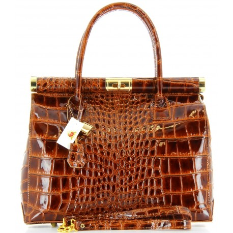 Sac à main femme cuir vernis luxe camel MILANO