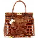 Grand sac à main femme cuir vernis luxe camel    MILANO