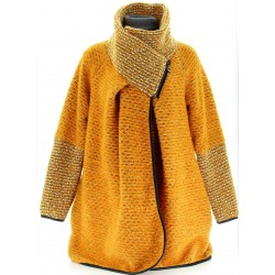 Manteau cape laine bouillie hiver grande taille jaune moutarde   VIOLETTA.
