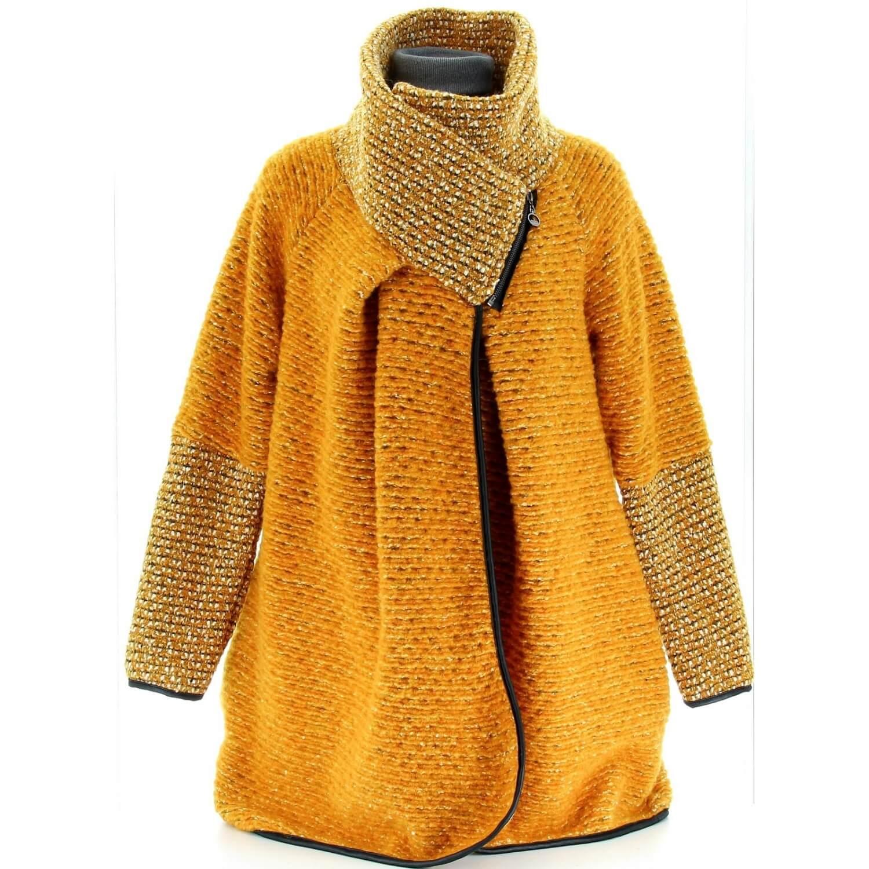 grande remise de 2019 en ligne ici prix raisonnable Manteau cape laine bouillie hiver grande taille jaune moutarde VIOLETTA
