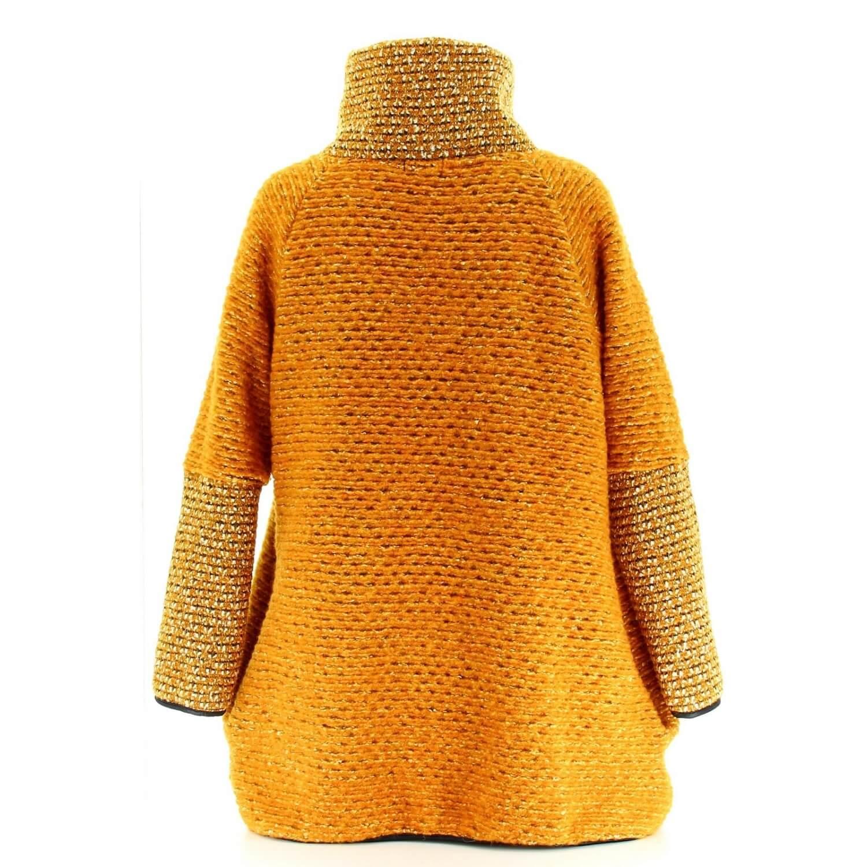 64383461f12e Manteau cape laine bouillie hiver grande taille jaune moutarde VIOLETTA.