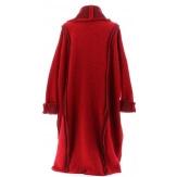 Manteau long hiver laine bouillie grande taille femme rouge KARLA