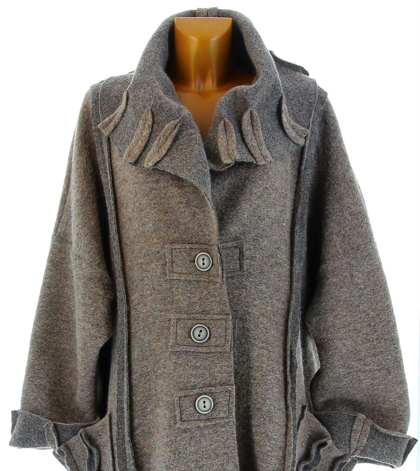 manteau long hiver laine bouillie grande taille femme taupe karla. Black Bedroom Furniture Sets. Home Design Ideas