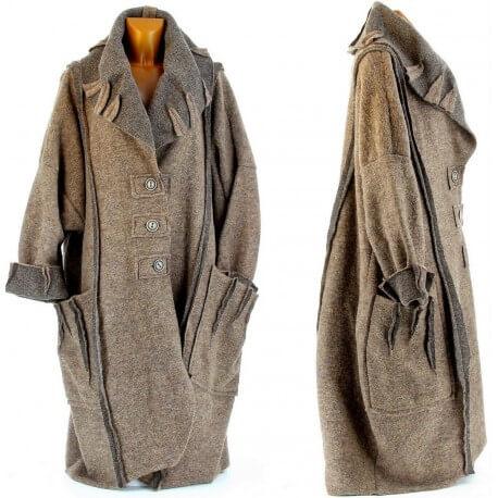 Manteau laine bouillie KARLA taupe