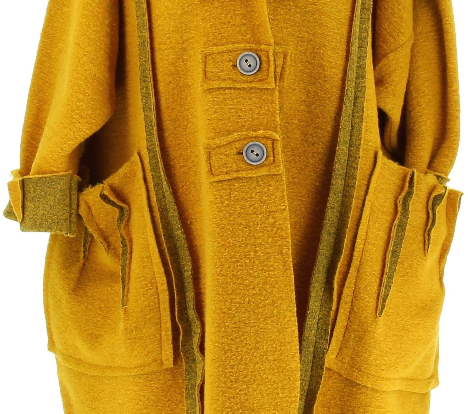 manteau long hiver laine bouillie grande taille femme moutarde karla. Black Bedroom Furniture Sets. Home Design Ideas