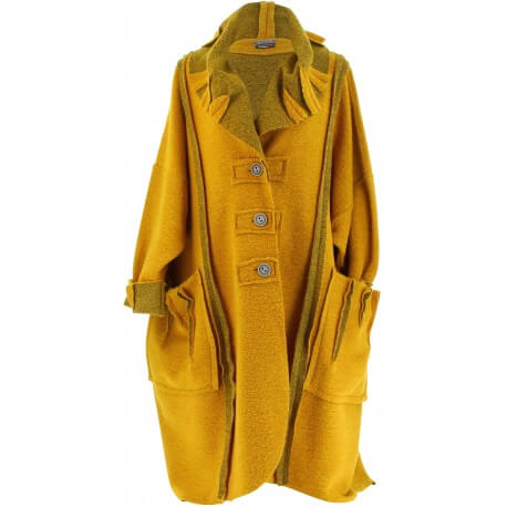 Manteau long hiver laine bouillie grande taille femme moutarde   KARLA