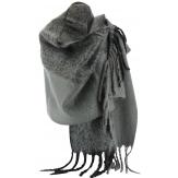 grosse écharpe étole laine hiver XXL mixte gris EYMERIC