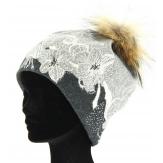 Bonnet swag femme laine pompon fourrure gris TATIANA