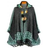 Poncho cape capuche laine franges ethnique hiver gris vert ADONIS