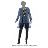 Tunique longue dentelle bohème grande taille bleu jean CHARLINNE
