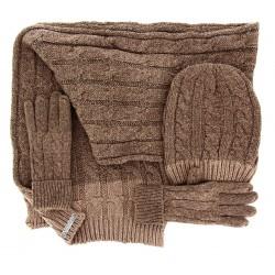 Pack écharpe longue bonnet gants laine DAMIEN Taupe-Bonnet écharpe femme-CHARLESELIE94
