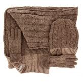 Pack écharpe longue bonnet gants laine homme femme hiver taupe DAMIEN