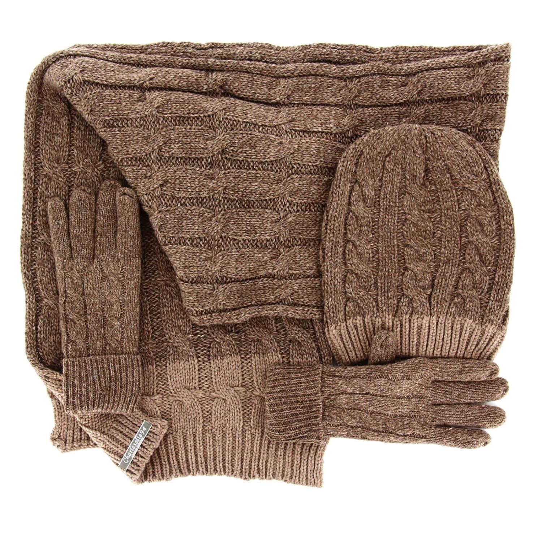 cb44c229817 Pack écharpe longue bonnet gants laine homme femme hiver taupe DAMIEN