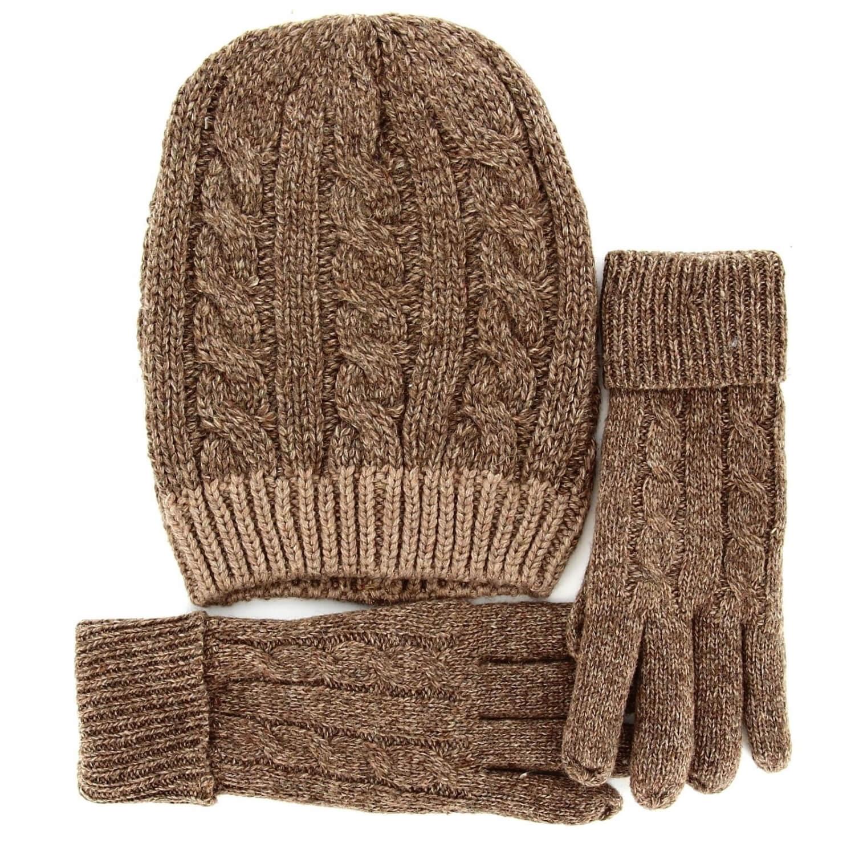 économiser détaillant Pré-commander Pack écharpe longue bonnet gants laine DAMIEN Taupe