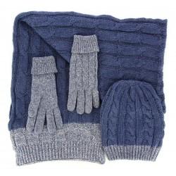 b5f69ff7536 Pack écharpe longue bonnet gants laine homme femme hiver bleu DAMIEN