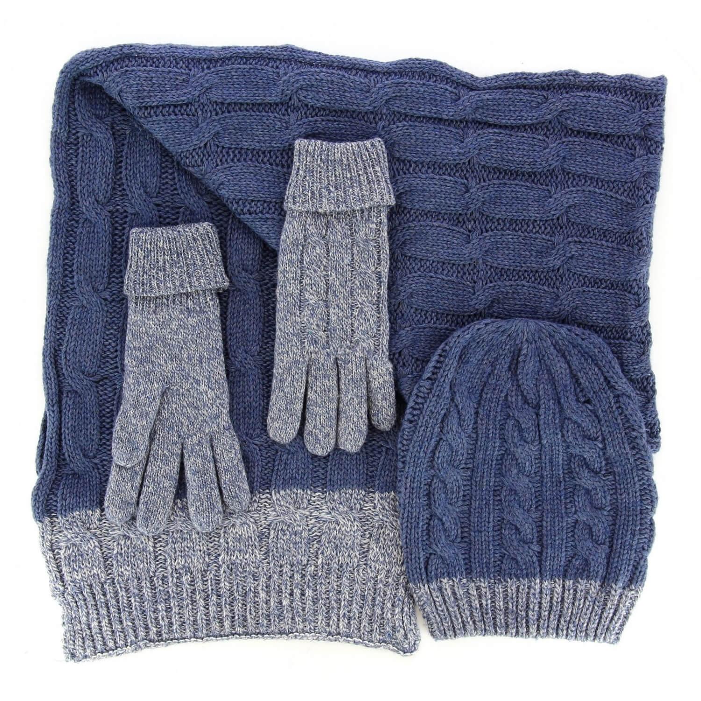 Pack écharpe longue bonnet gants laine homme femme hiver bleu DAMIEN 8182f91e9ee