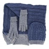 Pack écharpe longue bonnet gants laine homme femme hiver bleu DAMIEN