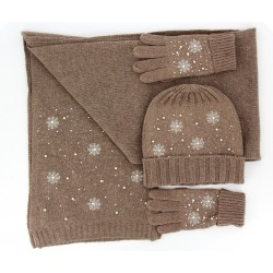 ensemble bonnet écharpe gants laine hiver brodée perles taupe RACHELLE