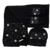 ensemble bonnet écharpe gants laine hiver brodée perles noir RACHELLE