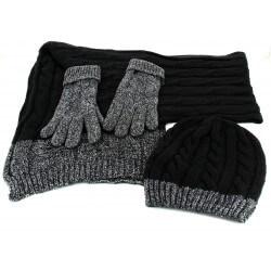 Pack écharpe longue bonnet gants laine homme femme hiver noir DAMIEN