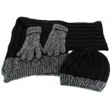 Pack écharpe longue bonnet gants laine DAMIEN Noir-Bonnet écharpe femme-CHARLESELIE94