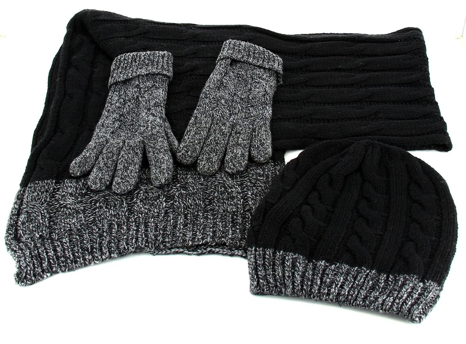 pack charpe longue bonnet gants laine homme femme hiver noir damien. Black Bedroom Furniture Sets. Home Design Ideas