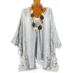 Poncho tunique longue dentelle et top bohème asymétrique gris perle MAGALIE