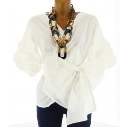 Chemisier blouse cache - coeur noeud bohème MANUELA