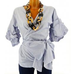 Chemisier blouse cache - coeur noeud bohème MANUELA blanc bleu