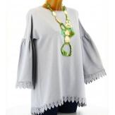 Tunique longue sweat femme dentelle coton bohème hippie gris ELGA
