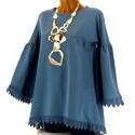 Tunique longue sweat femme dentelle coton bohème hippie bleu jean ELGA