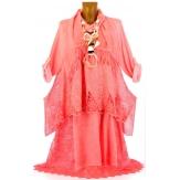 robe + tunique + foulard dentelle bohème coton corail ERMINA