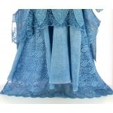 robe + tunique + foulard dentelle bohème coton bleul ERMINA