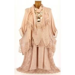 robe + tunique + foulard dentelle bohème coton rose ERMINA