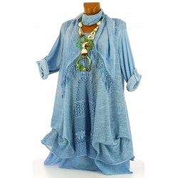 robe + tunique + foulard dentelle bohème coton bleu BRIGITTA
