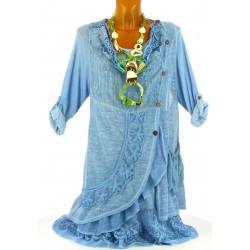 robe + tunique dentelle bohème coton bleu GISELLA