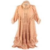 robe + tunique + foulard dentelle bohème coton rose BRIGITTA