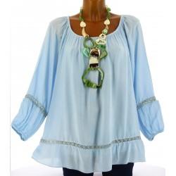 Tunique blouse hippie dentelle bleu ciel BOHEMIA