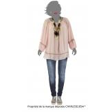 Tunique blouse hippie dentelle rose BOHEMIA