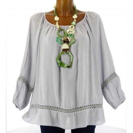 Tunique blouse hippie dentelle gris BOHEMIA