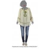 Tunique blouse hippie dentelle beige BOHEMIA