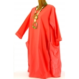 Robe bohème ample bi-matière coton corail ADELAIDE