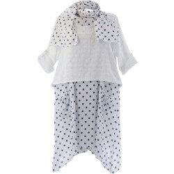 Robe tunique + foulard asymétrique coton bohème été blanc PILOU Robe été femme
