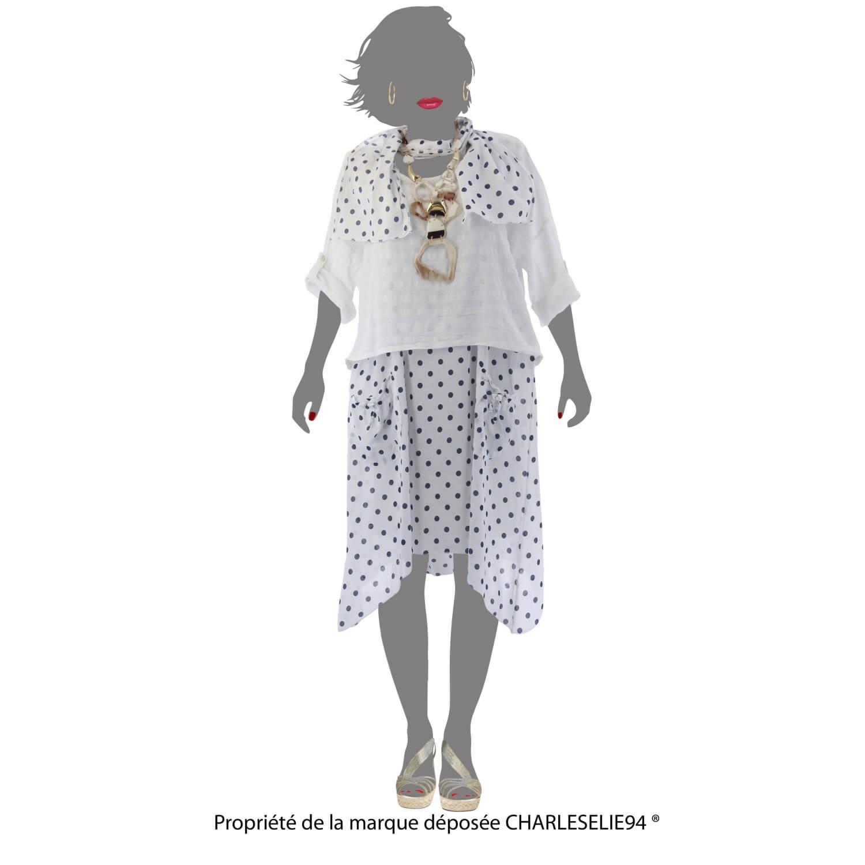 441a08dba996 ... Robe + tunique + foulard asymétrique coton bohème été blanc PILOU ...