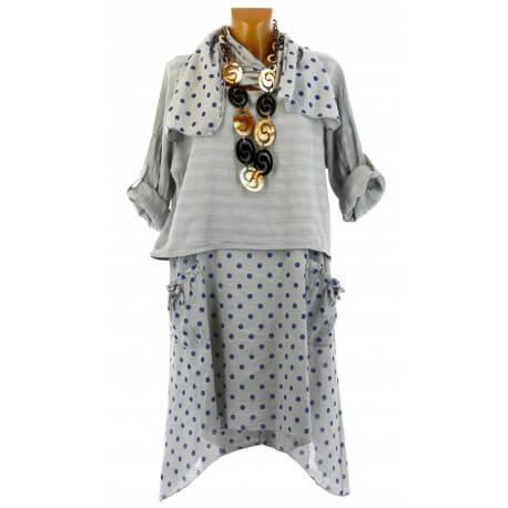 Robe tunique + foulard asymétrique coton bohème été gris PILOU