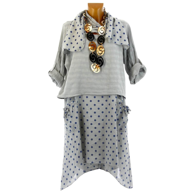 2605971b4a24 Robe tunique + foulard asymétrique coton bohème été gris PILOU