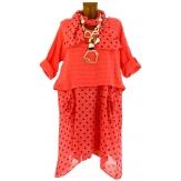 Robe tunique + foulard asymétrique coton bohème été corail PILOU