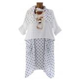 Robe + tunique + foulard asymétrique coton bohème été blanc PILOU